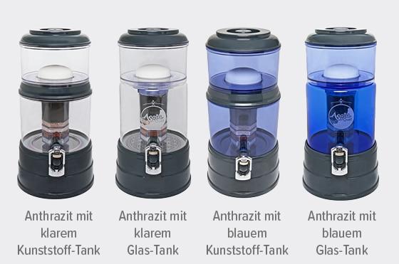 Acalaquell Mini Wasserfilter Anthrazit Varianten