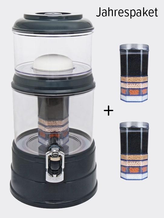 Wasserfilter AcalaQuell Mini Anthrazit Kristallklar Kunststoff Jahrespaket