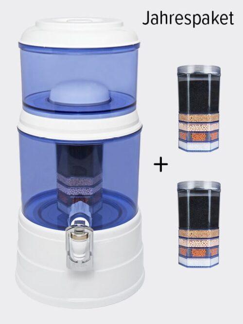 Wasserfilter AcalaQuell Mini Weiss Blau Jahrespaket