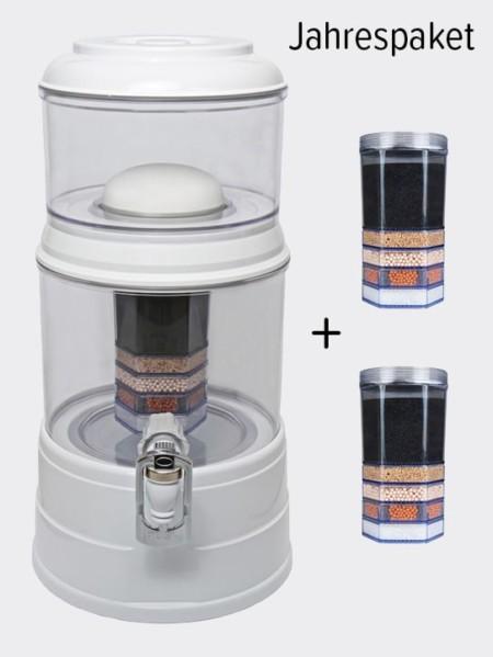 Wasserfilter AcalaQuell Mini Weiss Kristallklar Kunststoff Jahrespaket