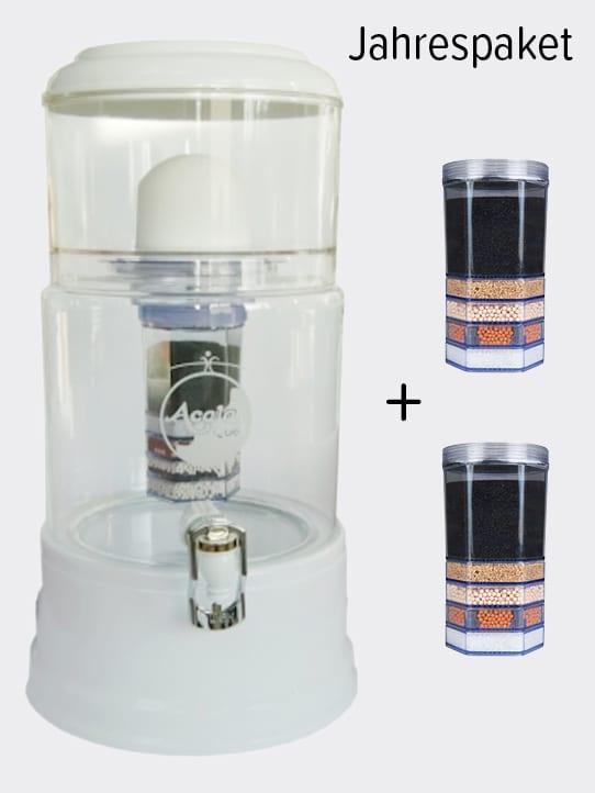 Wasserfilter AcalaQuell Smart Weiss Kristallklar Glas Jahrespaket
