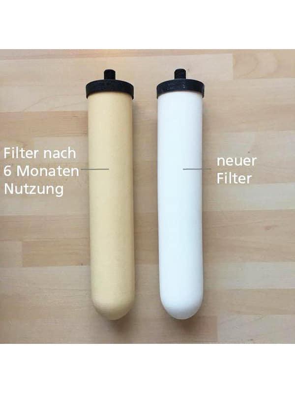 Crystallus Filter vor und nach Benutzung