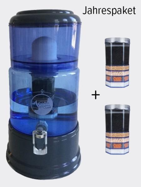 Wasserfilter AcalaQuell Smart Anthrazit Blau Glas Jahrespaket