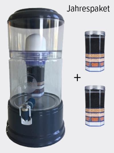 Wasserfilter AcalaQuell Smart Anthrazit Kristallklar Glas Jahrespaket
